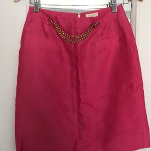 Kate Spade pink silk skirt with gold chain